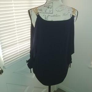 Dolman cold shoulder blouse